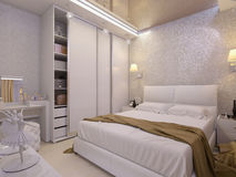 3D illustration of a white bedroom in modern style. 3D render of a white bedroom in modern style Royalty Free Stock Images