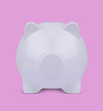 3d illustration of a white blind piggy bank on pink Stock Photography