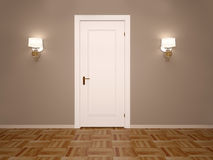 3d illustration of white closed door with two lamps Stock Images