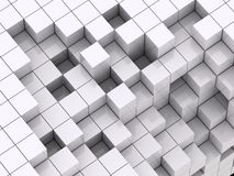 3d illustration of white cubes. Abstract of 3d purple white, blocks background Stock Image