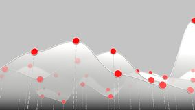 White curve chart or line graph and red dots. 3D illustration of a white curve chart or line graph Royalty Free Stock Photo