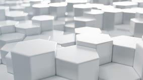 3D illustration white geometric hexagon abstract background. Surface hexagon pattern, hexagonal honeycomb. stock image