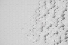 3D illustration white geometric hexagonal abstract background. surface hexagon pattern, hexagonal honeycomb. 3D illustration white geometric hexagonal abstract stock illustration