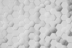 3D illustration white geometric hexagonal abstract background. Surface hexagon pattern, hexagonal honeycomb. vector illustration