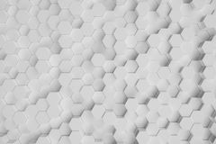 3D illustration white geometric hexagonal abstract background. Surface hexagon pattern, hexagonal honeycomb. 3D illustration white geometric hexagonal abstract vector illustration