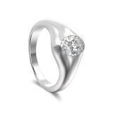 3D illustration white gold or silver classic diamond  ring with Stock Photo