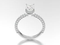 3D illustration white gold or silver decorative diamond ring wit Royalty Free Stock Photography