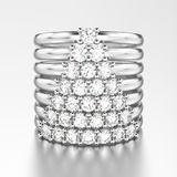 3D illustration white gold or silver decorative diamond rings wi. Th diamonds in the form of a сhristmas tree on a grey background Stock Image