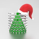 3D illustration white gold or silver decorative diamond rings wi. Th diamonds in the form of a christmas tree in the Christmas Santa Claus hat on a grey Stock Photography