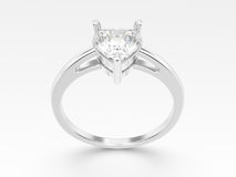 3D illustration  white gold or silver engagement ring wi Royalty Free Stock Images