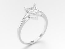 3D illustration  white gold or silver engagement ring wi Stock Photos