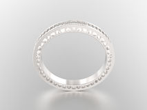 3D illustration white gold or silver  eternity band ring with di Royalty Free Stock Photography