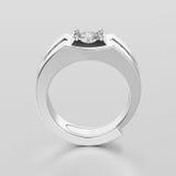 3D illustration white gold or silver men signet diamond ring wit Royalty Free Stock Photos