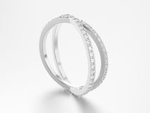 3D illustration white gold or silver two shanks diamond ring   Royalty Free Stock Photos