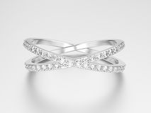 3D illustration white gold or silver two shanks diamond ring   Royalty Free Stock Image