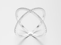 3D illustration white gold or silver two shanks diamond ring wit Royalty Free Stock Images