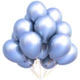 3D illustration of white helium balloons birthday party decoration Stock Photo