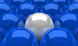 3D Illustration White leader sphere concept. 3D Illustration Blue and white spheres in a row Royalty Free Stock Photography