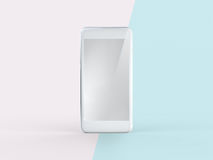 3D Illustration of White Mobile Phone on Simple Pastel Pink Mint. Front View of Silver White Mobile Phone on Simple Pastel Pink Mint Background. 3D Illustration Royalty Free Stock Photos