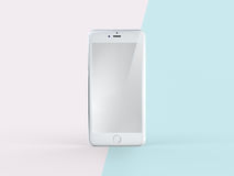 3D Illustration of White Mobile Phone on Simple Pastel Pink Mint. Front View of Silver White Mobile Phone on Simple Pastel Pink Mint Background. 3D Illustration Stock Photo