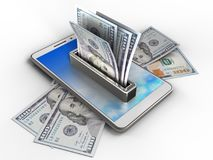 3d sky. 3d illustration of white phone over white background with banknotes and money Royalty Free Stock Photo