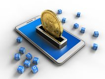 3d blue. 3d illustration of white phone over white background with binary cubes and bitcoin Stock Images