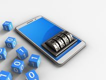 3d blue. 3d illustration of white phone over white background with binary cubes and lock dial Stock Photos