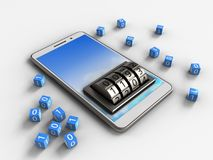 3d sky. 3d illustration of white phone over white background with binary cubes and lock dial Royalty Free Stock Image