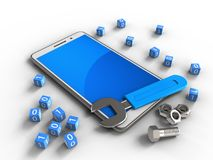 3d binary cubes. 3d illustration of white phone over white background with binary cubes and wrench Stock Photo