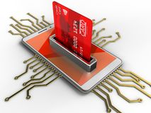 3d red. 3d illustration of white phone over white background with electronic circuit and bank card Stock Image