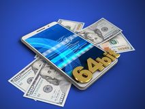 3d cyber. 3d illustration of white phone over blue background with banknotes and 64 bit sign Stock Photo