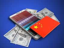 3d banknotes. 3d illustration of white phone over blue background with banknotes and china flag Stock Images