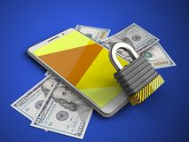 3d yellow. 3d illustration of white phone over blue background with banknotes and iron lock Royalty Free Stock Photos