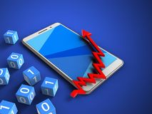 3d arrow chart. 3d illustration of white phone over blue background with binary cubes and arrow chart Stock Photo