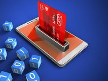 3d red. 3d illustration of white phone over blue background with binary cubes and bank card Stock Photos