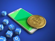 3d binary cubes. 3d illustration of white phone over blue background with binary cubes and bitcoin Stock Images