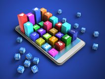 3d binary cubes. 3d illustration of white phone over blue background with binary cubes and colorful icons Stock Image