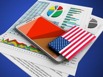 3d business papers. 3d illustration of white phone over blue background with business papers and USA flag Stock Images