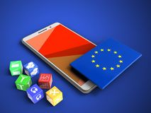 3d red. 3d illustration of white phone over blue background with cubes and EU flag Royalty Free Stock Photo