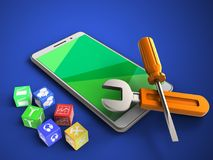 3d repair tools. 3d illustration of white phone over blue background with cubes and repair tools Stock Photos