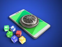 3d green. 3d illustration of white phone over blue background with cubes and vault door Royalty Free Stock Photo