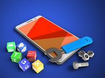 3d red. 3d illustration of white phone over blue background with cubes and wrench Stock Photo