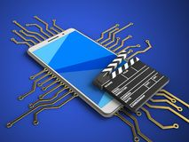 3d cinema clap. 3d illustration of white phone over blue background with electronic circuit and cinema clap Royalty Free Stock Images