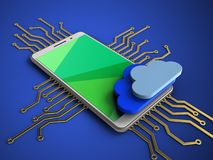 3d clouds. 3d illustration of white phone over blue background with electronic circuit and clouds Royalty Free Stock Image