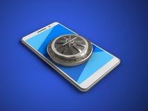 3d vault door. 3d illustration of white phone over blue background with vault door Stock Image