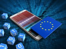 3d hex data. 3d illustration of white phone over digital background with binary cubes and EU flag Royalty Free Stock Image