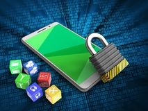 3d green. 3d illustration of white phone over digital background with cubes and iron lock Royalty Free Stock Images