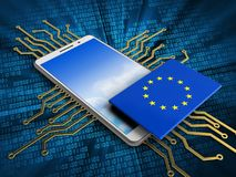 3d sky. 3d illustration of white phone over digital background with electronic circuit and EU flag Royalty Free Stock Photography