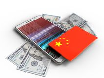 3d china flag. 3d illustration of white phone over white background with banknotes and china flag Stock Photo