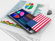 3d business data. 3d illustration of white phone over white background with business papers and USA flag Stock Photo